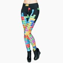 Модные брендовые женские леггинсы Tetris с 3D графическим принтом в стиле панк, обтягивающие брюки, повседневные штаны, леггинсы