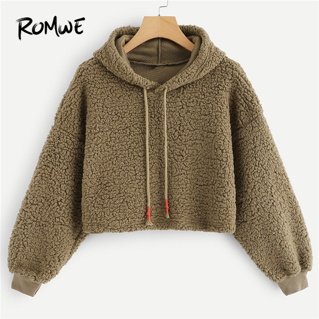 a3be84ae8856 ROMWE Brown Drawstring Solid Hooded Sweatshirt Women Casual Autumn New  Style Plain Pullovers Ladies Spring Long