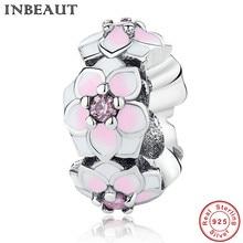 INBEAUT New Princess Wedding Flowers Chain Link Bracelet Charm Women 925 Sterling Silver Magnolias Charm fit Pandora Bracelet