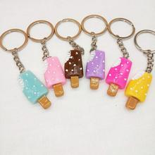 Cute colorful Popsicle key chain ice cream dessert keyring creative gift Girl bag hanging 10pcs/lot 2018 new and creative messenger bag with the shape of ice cream cute chain bag designed for lovely girls
