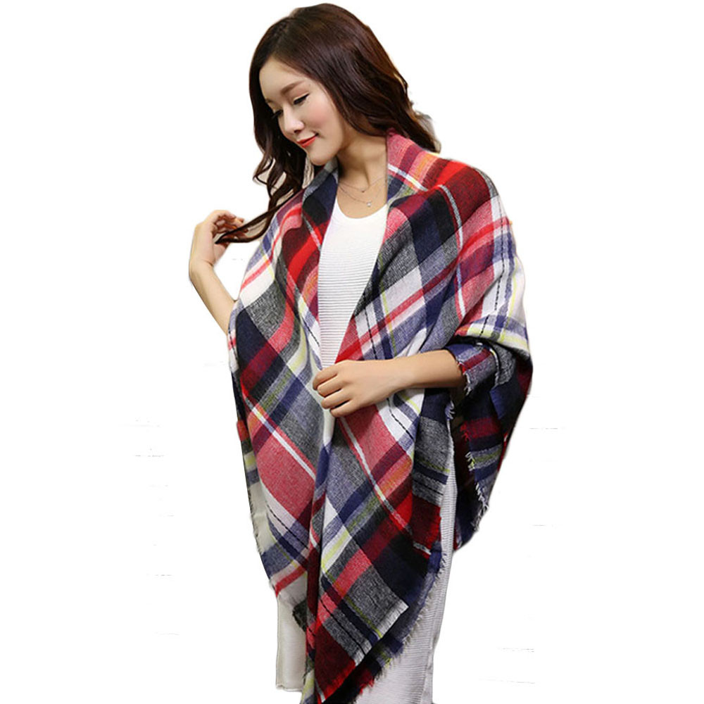 Sali 2015 142 136CM Scarf Wrap Shawl Plaid Cozy Checkered Women Blanket Oversized font b Tartan