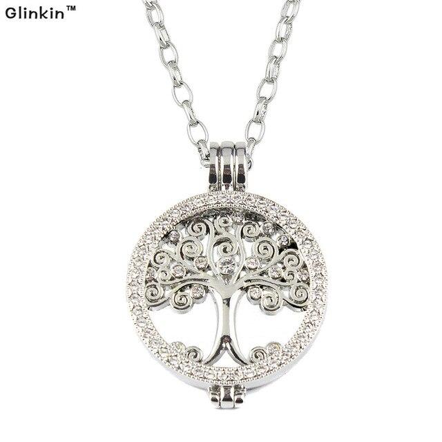 Женщины Серебряные Украшения Позолоченный древо Жизни Кулон Ожерелье Мой Монета Dsic Ожерелья