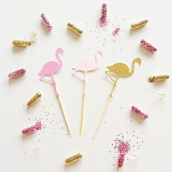 Flamingo Glitter Cupcake Toppers Appetizer Food Pick Party Baby