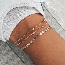 Богемский сплав, многослойные Золотые и Серебряные бусы с блестками, комплект из 3 предметов, браслет для женщин, ювелирное изделие, цепочка на ногу, ножные браслеты, аксессуары, подарок
