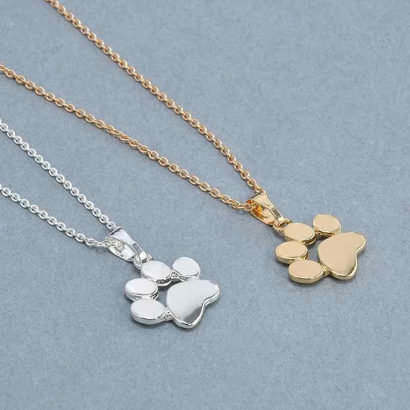Silver Gold Dog Cat Necklace For Women jewelry accessories Animal Paw Pet Choker Necklace Pendant Footprints New