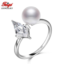 Cubic Zirconia Freshwater Pearl Ring for Women Engagement Jewelry 8-9MM White Pearls 925 Sterling Silver Rings Wholesale FEIGE
