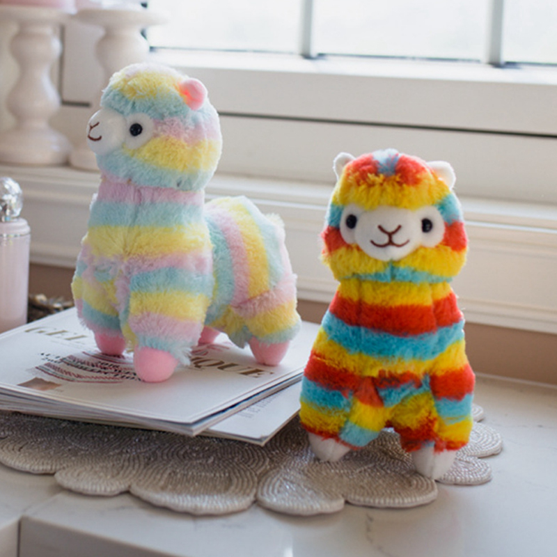 Cartoon Cute Plush Toy Rainbow Horse Stuffed Toys Soft Alpaca Animal Dolls Chirstmas Kid Gift Alpaca Pillow Bolster