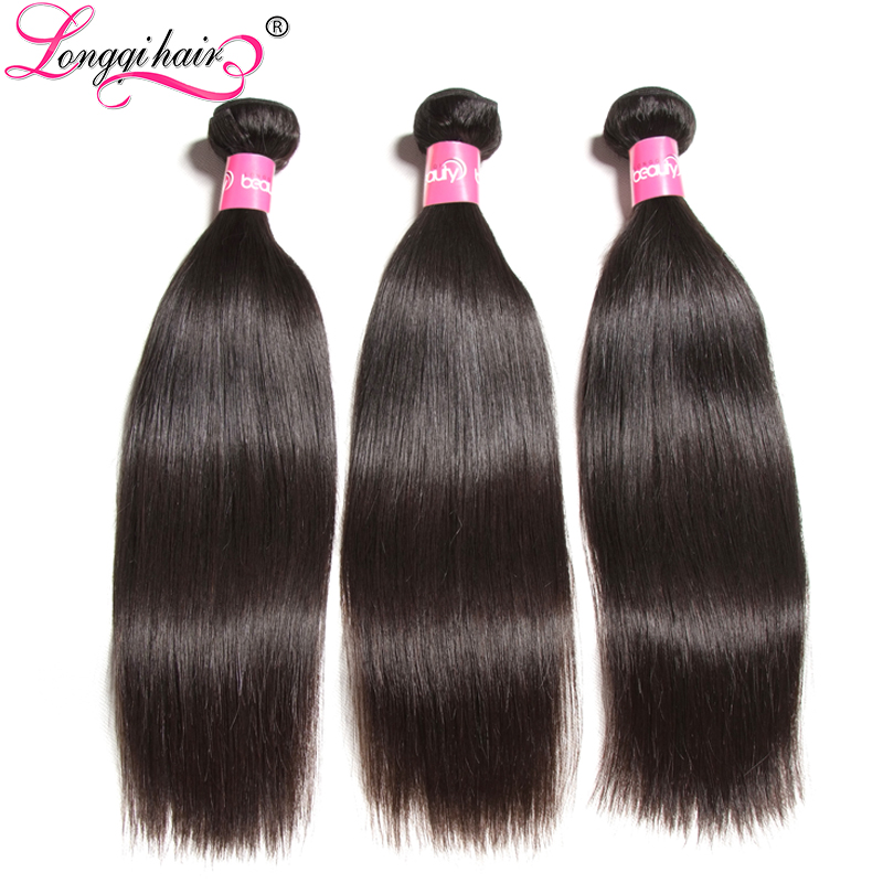 Longqi Hair 3 Bundles Brazilian Straight Hair Weaves 100% Human Hair Remy Hair Can Be Dyed 3pcs/lot 15 Days Us Domestic Return 3/4 Bundles Human Hair Weaves
