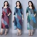 Mujer embarazada dress otoño de manga larga floral de lino de algodón ropa de maternidad flojo retro casual vestidos largos ce321