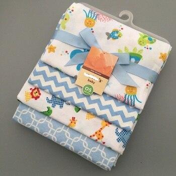 цена на 4pcs Baby Bedding Set Cute Printing Crib Sheet Multi-Functional Baby blanket cotton swaddle Kids Sheets Bed Crib Single Sheets