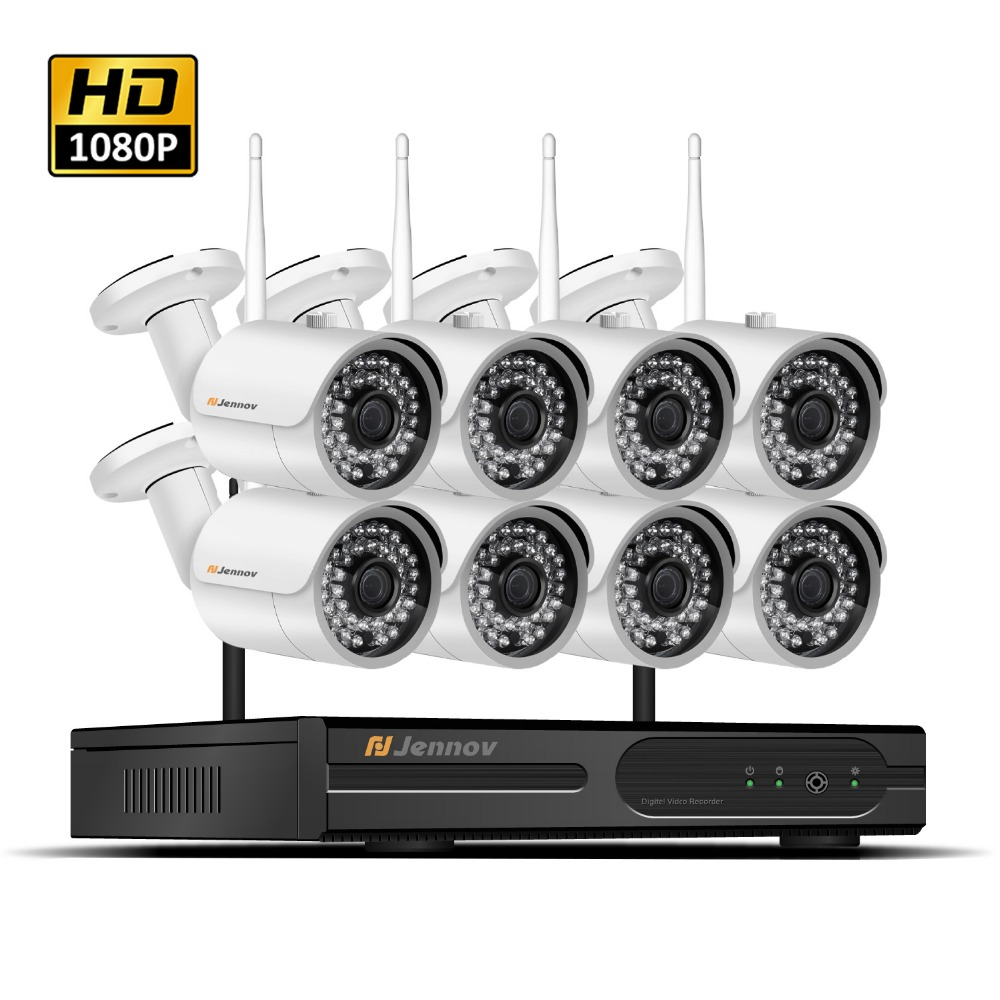 HD 1080P 2MP Wireless Security CCTV IP Camera wi-fi System NVR Wifi Video Record Home Outdoor Surveillance 2/4/6/8CH Kits Set