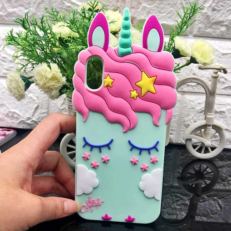 2018 <font><b>3D</b></font> <font><b>Cartoon</b></font> <font><b>sexy</b></font> Eyelash Pink unicorn horse phone case For iPhone X 5 SE 6 6 s plus 7 8 plus Black White Back cover rubber image