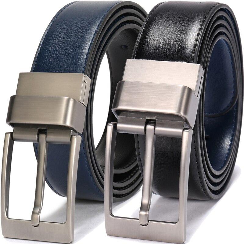 Ceintures de créateur en cuir texturé fait main pour hommes avec boucle réversible à broche brillante ceinture homme cuir noir et bleu