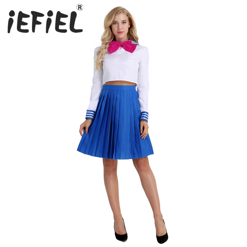 iEFiEL Women Girls Cosplay Costume Sailor School Uniform Dress Suit Crop Top with Pleated Skirt for Party Dress Up Set Clothes