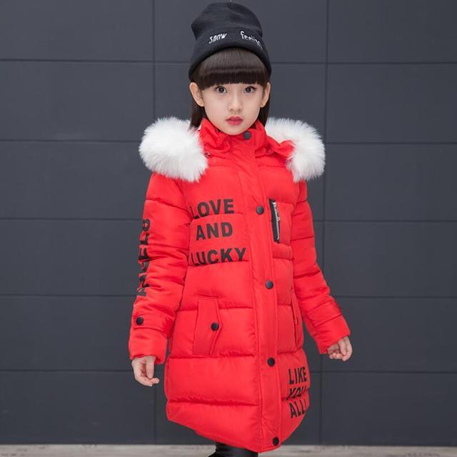 827d289c8852 2018 Girls Winter Jacket Cotton Padded Parka Fur Hooded Long Girl ...