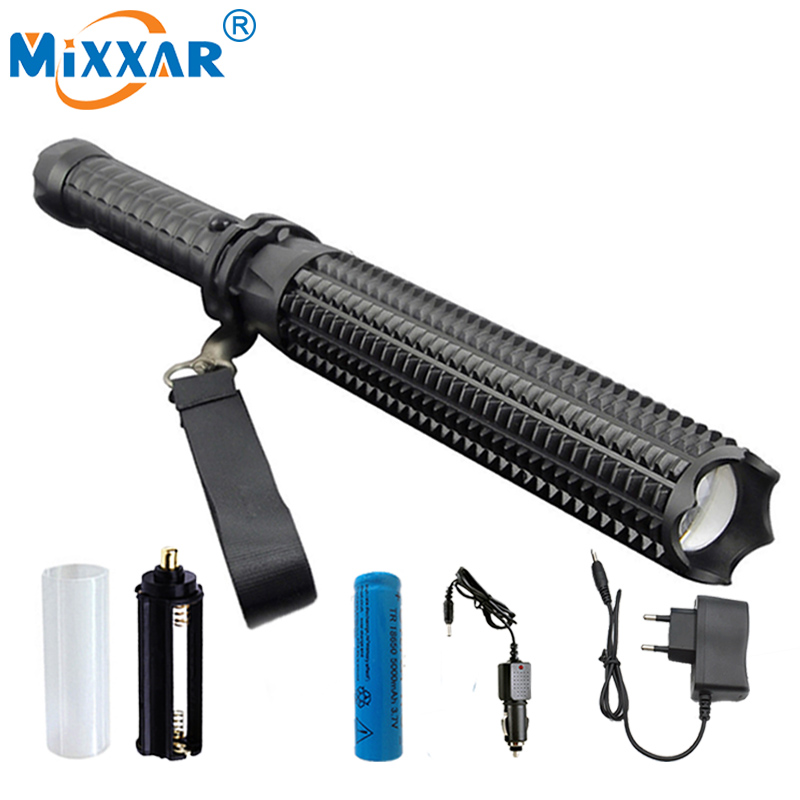 EZK30 9000LM Powerful CREE XM L2 Led Flashlights 18650 Telescopic baton Self defense Police Patrol LED Rechargeable Torch Lamp