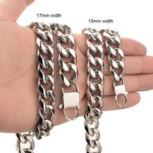 Granny Chic 15/17mm Curb Link Chain Xxxtentacion Adjustable Choker Tail Hip Hop Rapper Miami Stainless Steel Necklace for Man