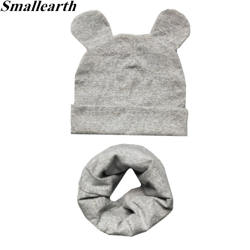 New 100% Cotton Children Hat Scarf Set Children's Lovely Cap Beanies High Quality Boys Girls Hat Scarf Set Kid Hats Photo Props