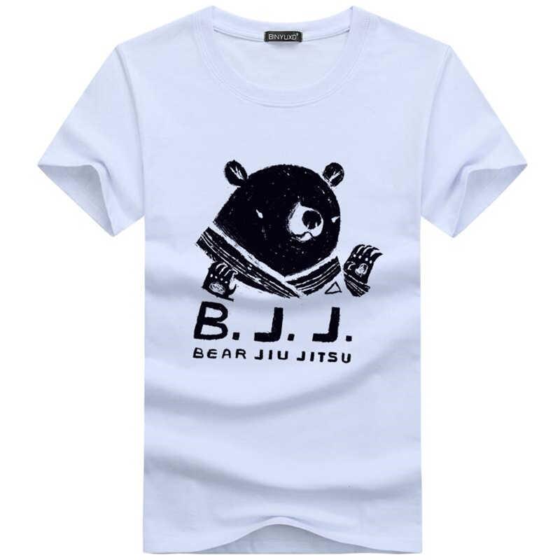 2018 pria T-shirt Lucu Cetak Beruang Jiu Jitsu T shirt pria Merek Musim Panas Katun Leher Bulat Putih T-shirt lengan Pendek Homme