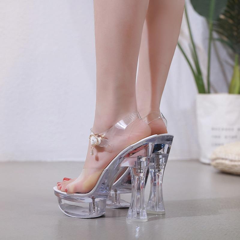 Steel Tube Dancing Female Shoes Crystal Transparent Shoes Women Summer High Heel 14.5CM Peep Toe Nightclub Sandals Wedding Shoes 4