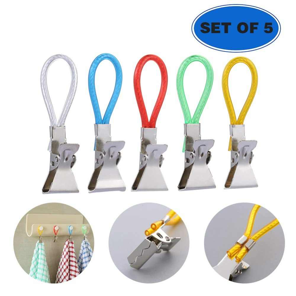 5Pcs/Set Clothes Pegs Metal Stainless Steel Clothespins Colorful Laundry Tea Towel Hanging Clips Loops Kitchen Bathroom Organize