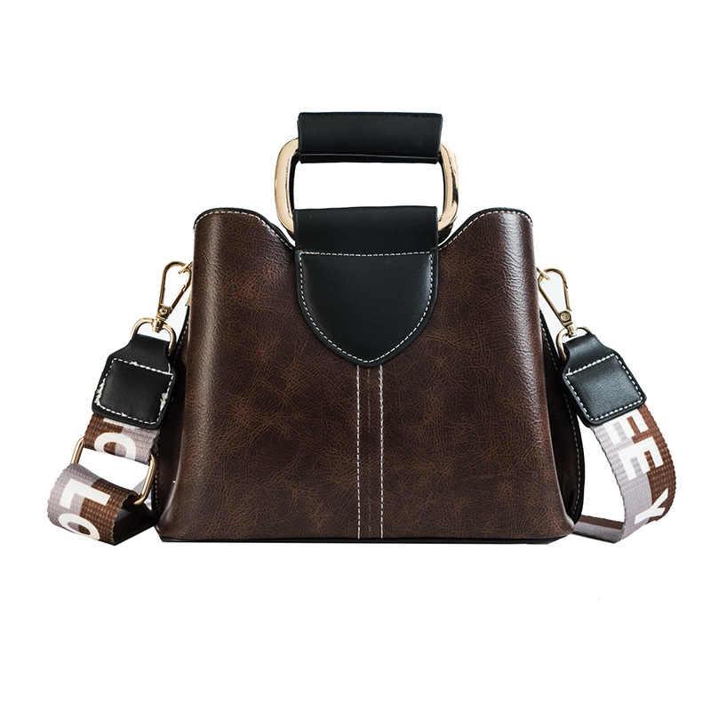 4be8026ce841 Мода письмо широкий плечевой ремень узор из искусственной кожи Для женщин сумка  женская через плечо сумка