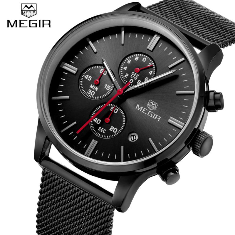 mens watch designer promotion shop for promotional mens watch top luxury brand megir men waterproof quartz clock mens watches casual mesh belt watch luminous hour for male relogio masculino