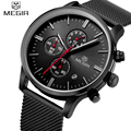 Top Luxury Brand MEGIR Men Waterproof Quartz Clock  Mens Watches Casual Mesh Belt Watch Luminous Hour For Male Relogio Masculino