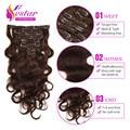 7 Pcs ou 8 Pcs Grampo Em Extensões de Cabelo Humano Brasileiro Virgem Grampo de cabelo em Extensões de Cabelo Humano Onda Do Corpo 100g para As Mulheres Negras