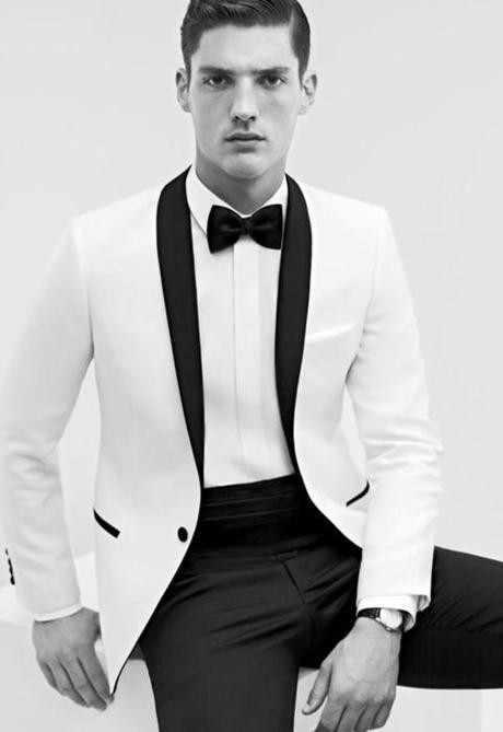 2019 新エレガントホワイト男性スーツセットワンボタンベストマンブレザースーツジャケット + パンツ + ボウ男性の結婚式スーツ新郎ドレスタキシード