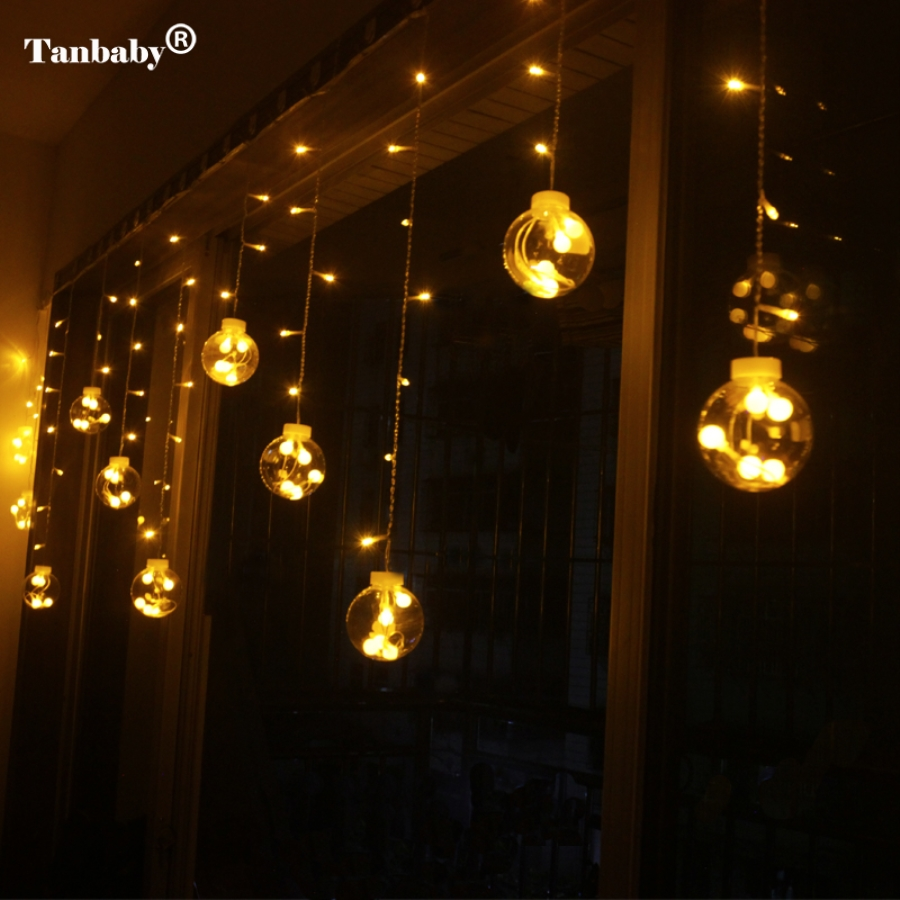 Tanbaby 3m Droop 0.8m curtain LED Fairy tale string lights 220V outdoor Romantic Decoration New year Garden Xmas Wedding Party