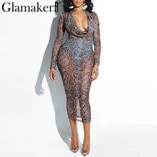 d920d99179689 Glamaker Yılan baskı bodycon midi elbise Kadın yaz moda v boyun seksi elbise  Zarif kadın şeffaf ağ uzun kollu elbise