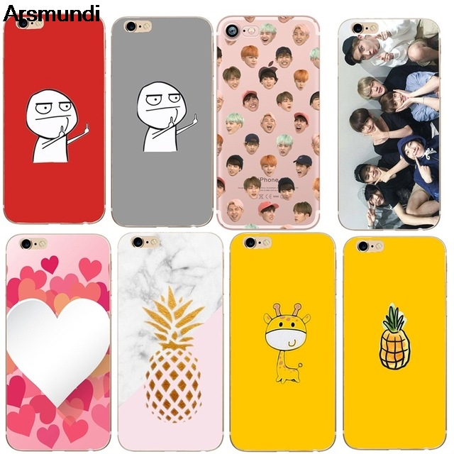 Arsmundi <font><b>BTS</b></font> Cute Deer Pineapple Dinosaur Phone Cases for iPhone 5 6S 7 8 PLUS XR XS Max Case Crystal Clear Soft TPU Cover Cases image