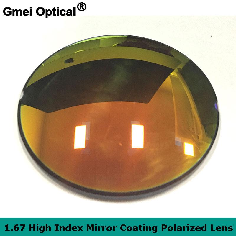 965474bf4d7d0 Gmei Optical 1.67 Revestimento de Espelho Lentes Polarizadas Lentes de  Prescrição Óptica Óculos De Sol Espelho Revestimento de acabamento