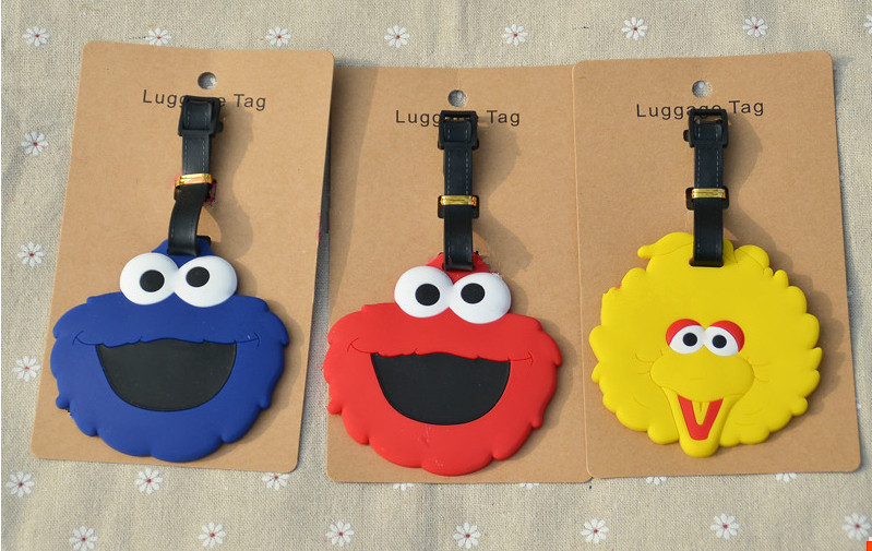 3pcs Street puppets el big bird cookie mons luggage tag BAG TAG Schoolbag cartoon kids t ...