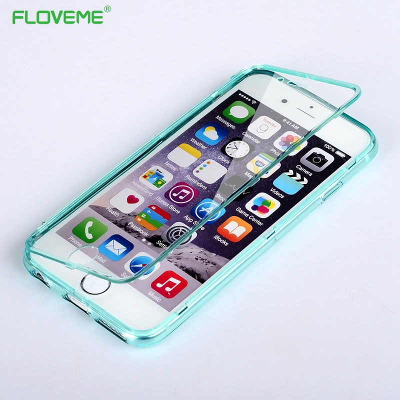 Floveme moda suave transparente tpu gel case para iphone 6 6s 7 plus tapa flip c