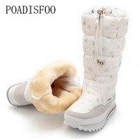 POADISFOO Women Shoes Snow Boots Warm Winter Plush Non Slipper Rubber Sole Waterproof Nylon Shoe Face