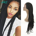Premium Overwatch Cosplay 3x Box Braids Synthetic Lace Front Wig Black Synthetic Braided Wigs Dreadlock Wig With Baby Hair 24""