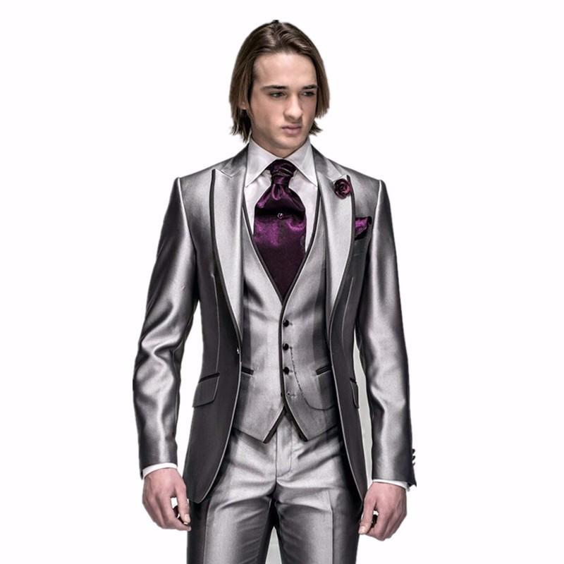 New Arrival Mens Suits Groomsmen Silver Gray Groom Tuxedos Wedding ...