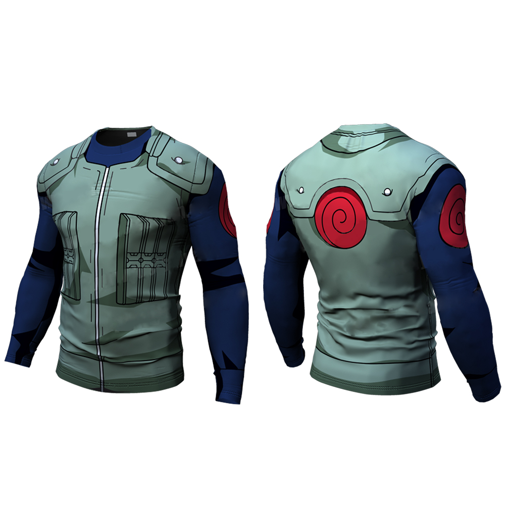 New Fitness Compression will will t shirt Men naruto armor naruto Bodybuilding Long Sleeve 3d t shirt Gym Tops Shirts mannequin