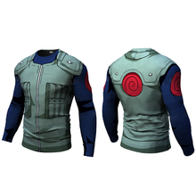 New Fitness Compression will t shirt Men naruto armor Bodybuilding Long Sleeve 3d Gym Tops Shirts