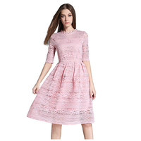 MAKE Women S Spring Summer Elegant Lace Hollow Out Long Dresses Fashion Casual Slim Sexy Party