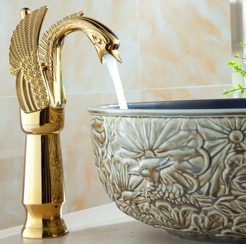 fashion high quality Gold art carved cold and hot single lever bathroom swan looking sink faucet basin faucet high tech and fashion electric product shell plastic mold