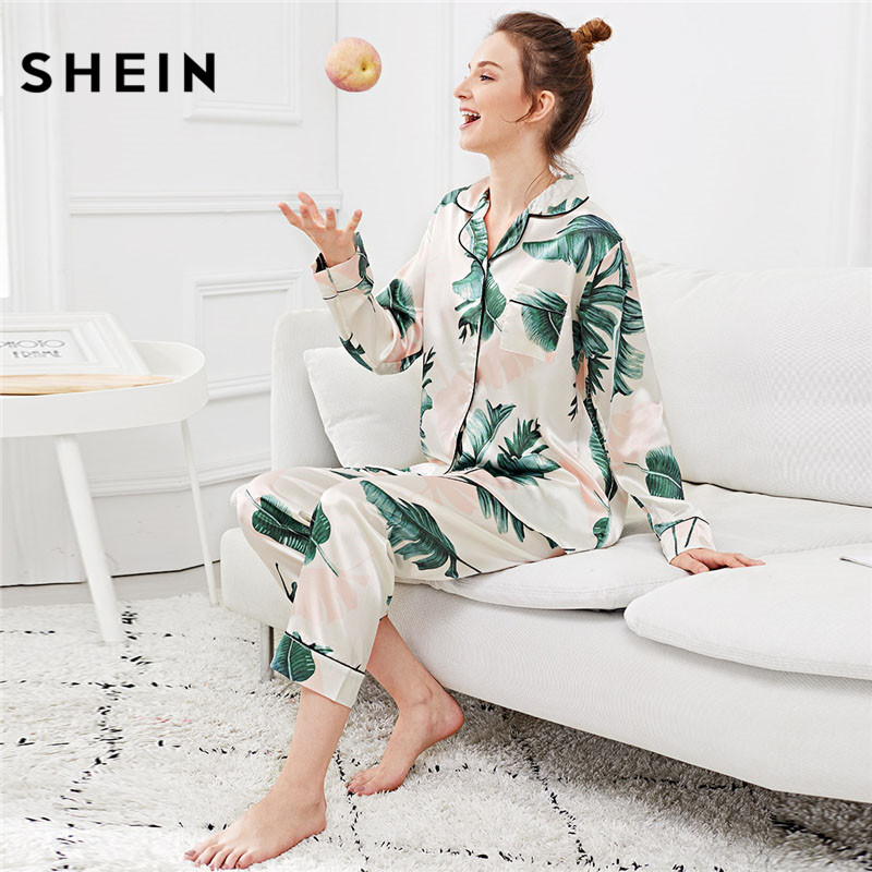SHEIN Palm Leaf Print Button Up   Pajama     Set   Women Nightwear Suits Long Sleeve Tops With Long Pants Autumn Winter Lingerie
