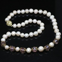New elegant women freshwater natural white 9 10mm round pearl necklace earrings set crystal spacer beads jewelry B1424