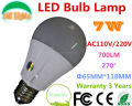 Dimmable AC110/220V 7W LED Bulbs,700LM indoor lighting home lighting,Wram white/Nature White/Cool White,6PCs a lot