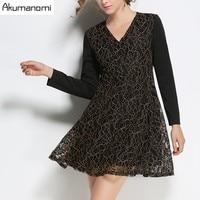 Осень-зима Кружево платье v-образным вырезом длинный рукав Лоскутная Женская одежда весеннее платье плюс Размеры 5xl 4xl XXXL XXL, xl, l Новая мода