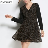 Autumn Winter Lace Dress V Neck Full Sleeve Patchwork Women Clothes Spring Dress Plus Size 5XL