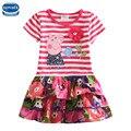 Novatx H4650 varejo 2016 chegada nova frete grátis rosa crianças mangas curtas carton pig crianças meninas vestido do bebê roupas de menina