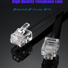 Телефонная линия кабель провода подключения 6P4C RJ11 DSL модем факс телефон к стене черный для телефона